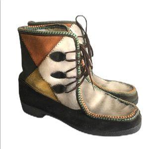 Vintage 70's Winter Boots Italian Suede Faux Fur
